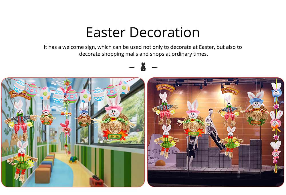 Bunny Hat Pendant for Easter Decoration, Straw Woven Rattan Weaving Hat with Cartoon Design, DIY Handmade Hat 4