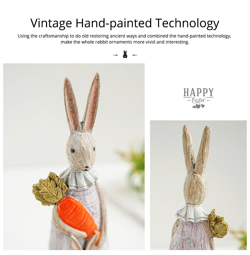Resin Rabbit Crafts Ornaments Gifts for Easter Birthday, Pastoral Hand-painted Rabbit Decoration 9