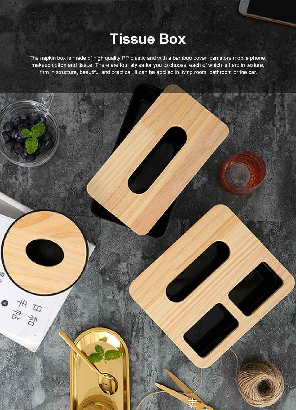 Tissue Box Wooden Cover Mobile Phone Holder, Makeup Cotton Box, On-board Black Tissue Box for Living Room, Desktop Napkin Box 0