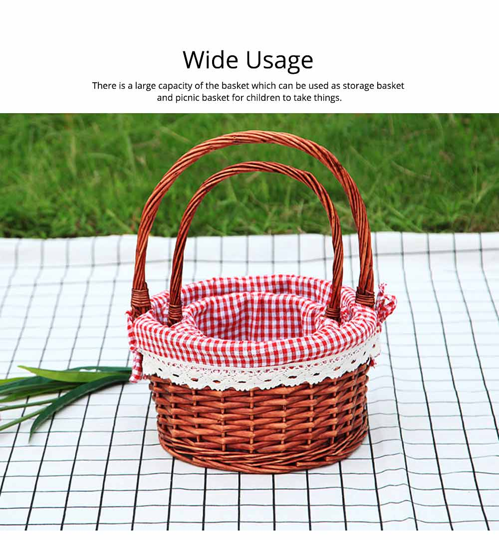 Mini Picnic Basket for Children, Willow Woven Hand-basket with Cotton and Linen Lining and Bud Silk 1