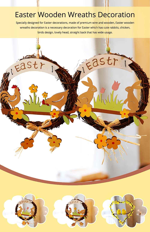Easter Wreath Wood Bunny Chicks Eggs, Door Hanging Decorations Pendant Props 0