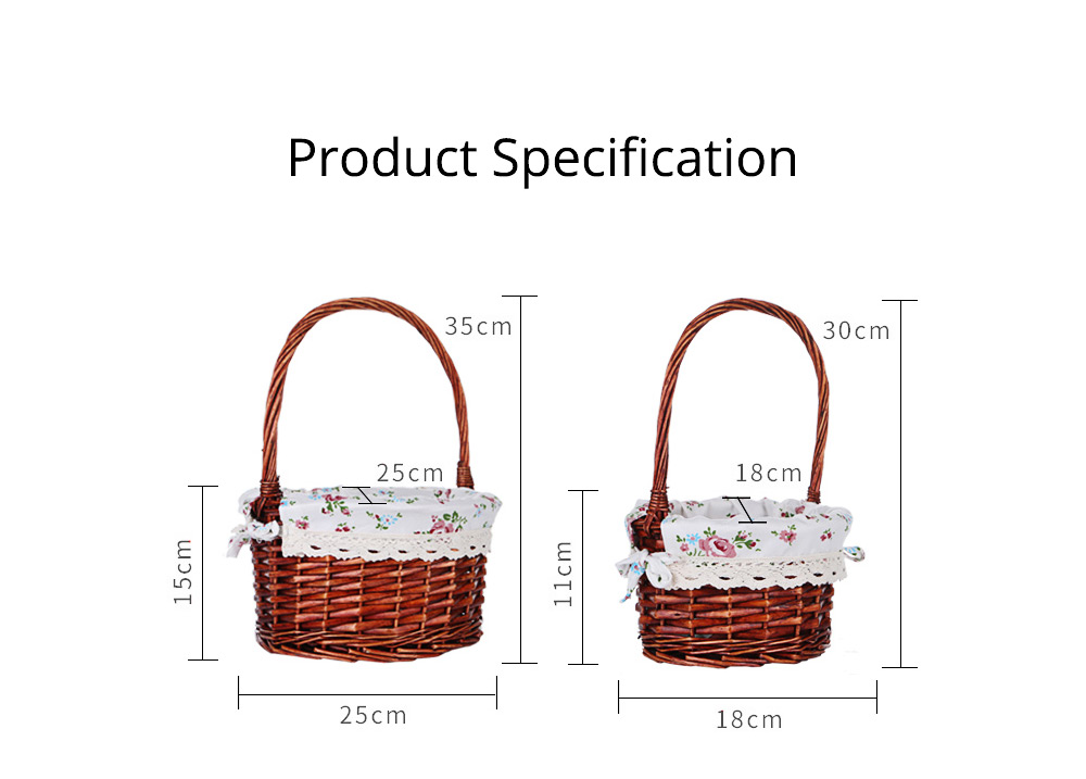 Mini Picnic Basket for Children, Willow Woven Hand-basket with Cotton and Linen Lining and Bud Silk 7