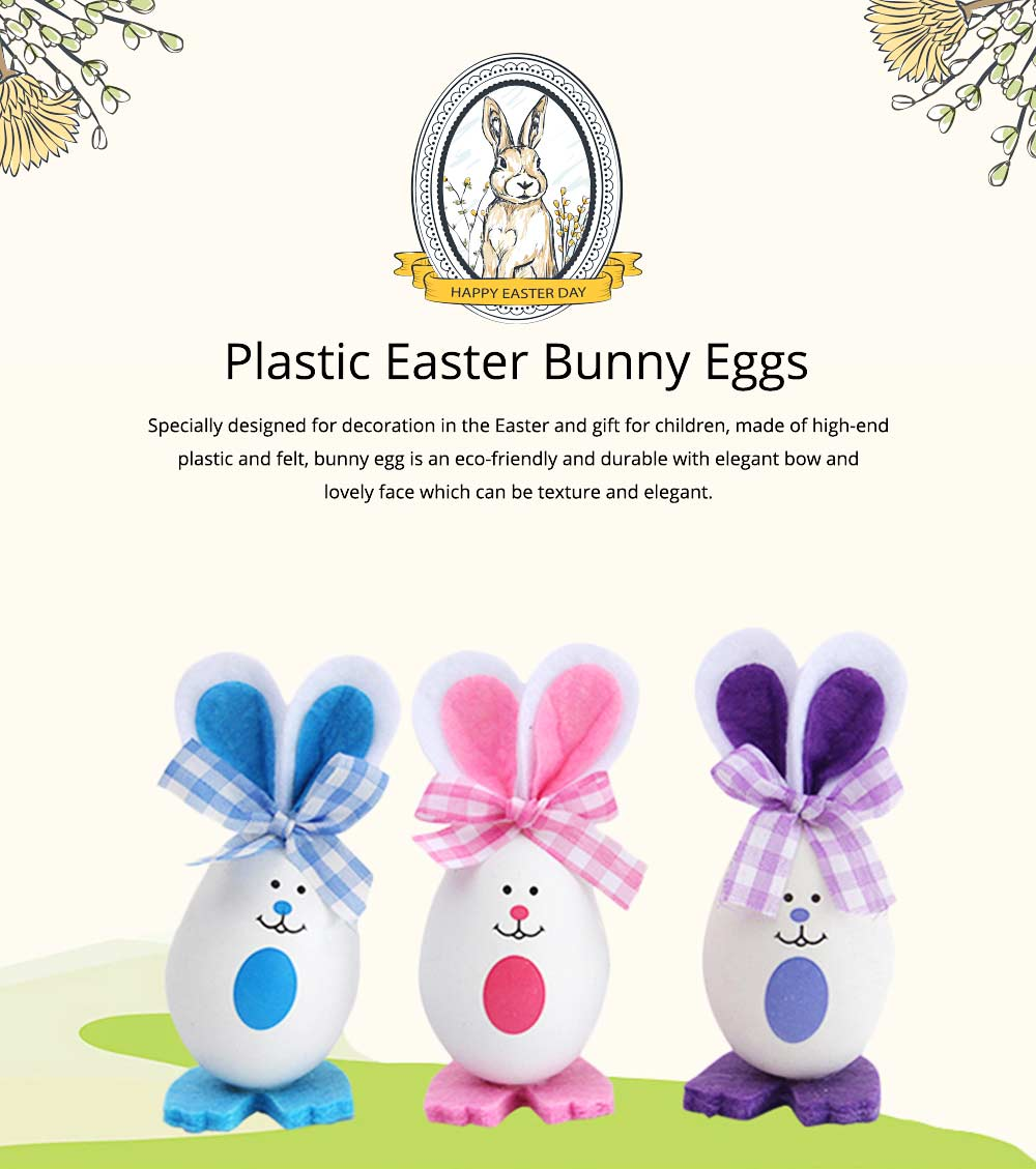 Plastic Easter Bunny Eggs with Delicate Bow and Lovely Face, Pendant and Gift for Children 0