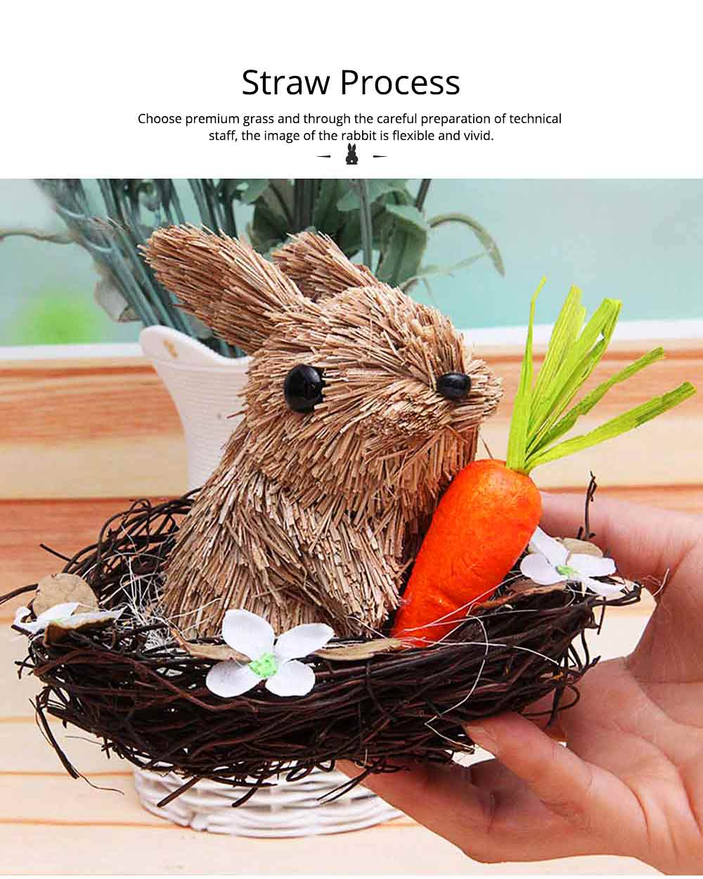 Easter Decorations - Hand-made Straw Bunny with Thorns Nest and Carrots, Mall and Shop Pendant 2