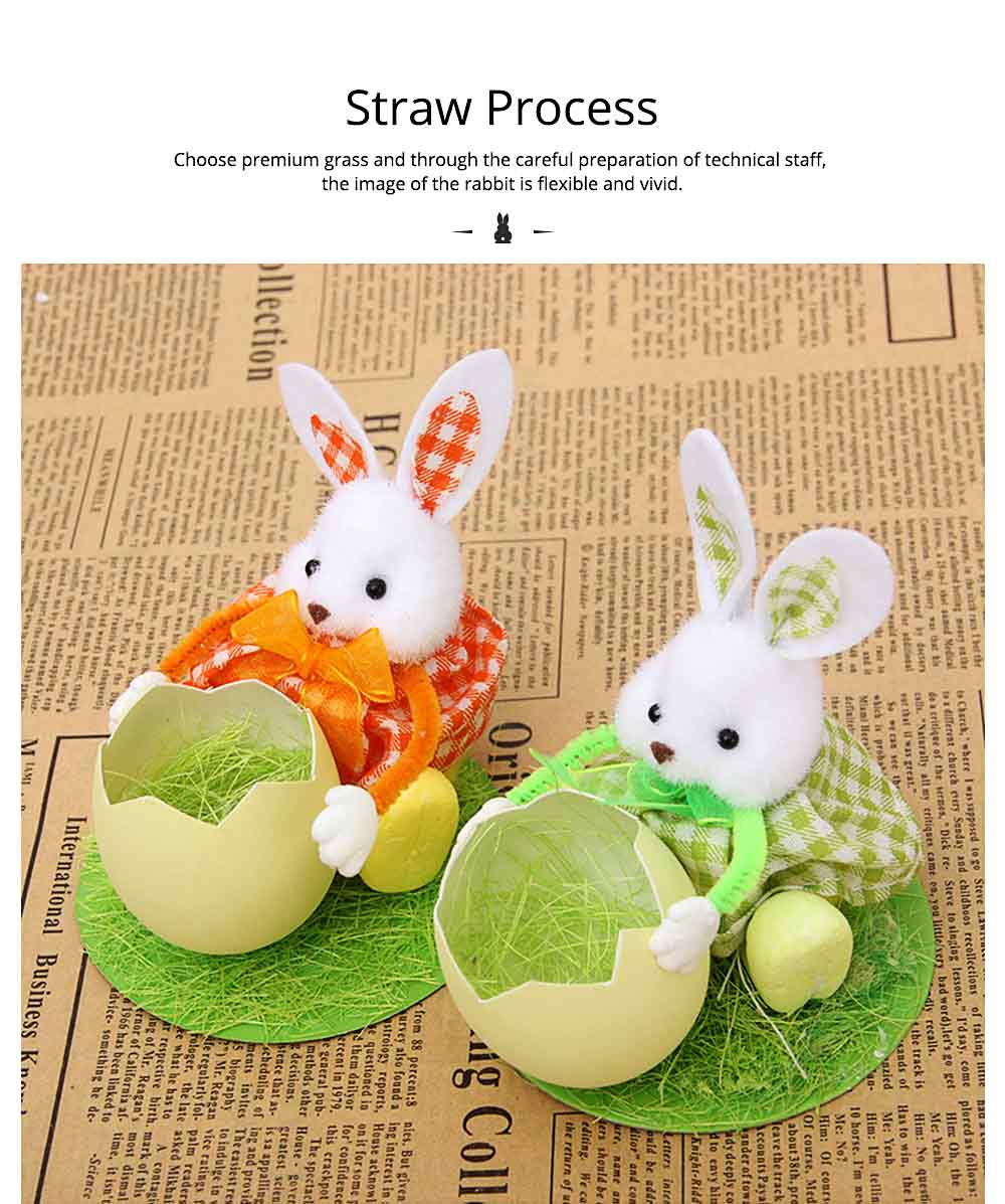 Hand-made Plush Rabbit with Egg Shell Straw, Easter Decorations, Mall and Shop Pendant 2