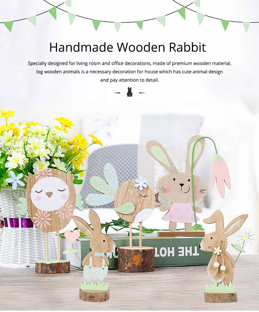 Office and Living Room Easter Decoration - Handmade Wooden Animals with Texture Buckle and Hanging Bead 0