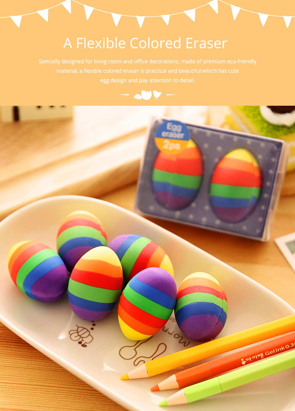Fun Easter Gifts For Toddlers - Flexible Colored Eraser with Eggs Design, 2PCS 6