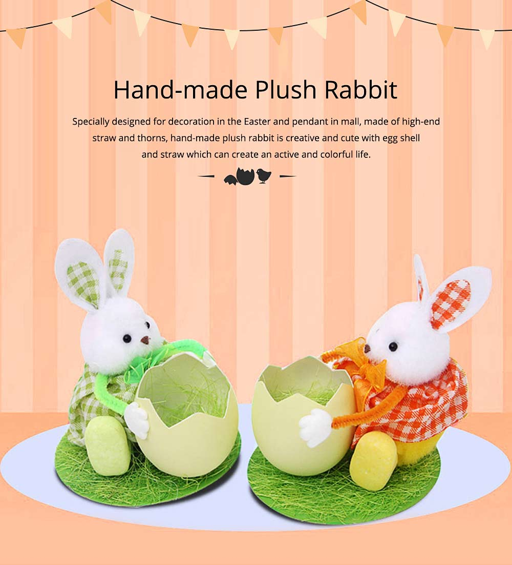 Hand-made Plush Rabbit with Egg Shell Straw, Easter Decorations, Mall and Shop Pendant 0