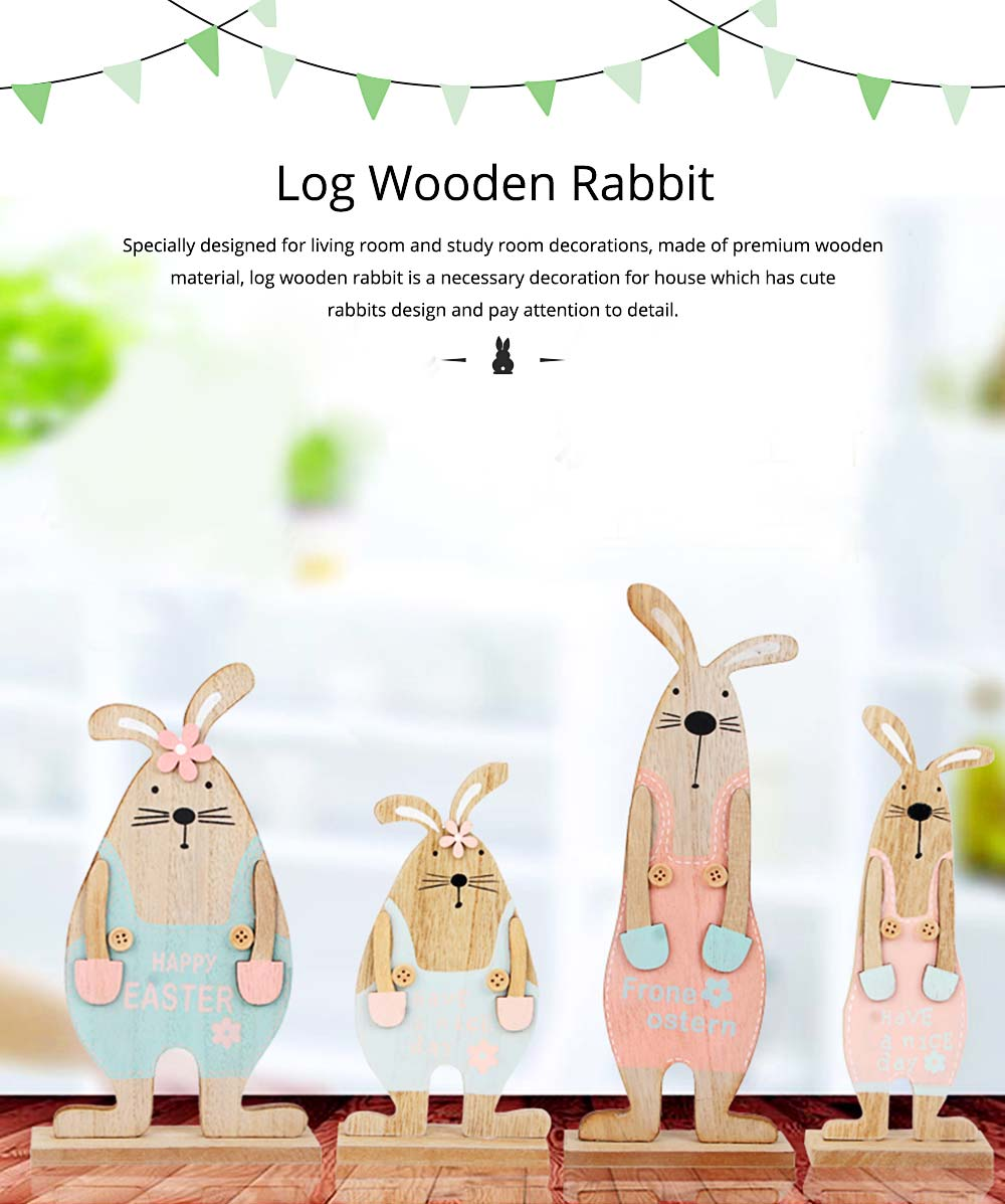 Wooden Bunnies for Desk and Living Room Decoration, Log Wooden Rabbit with Texture Buckle and Cool Suspenders 0