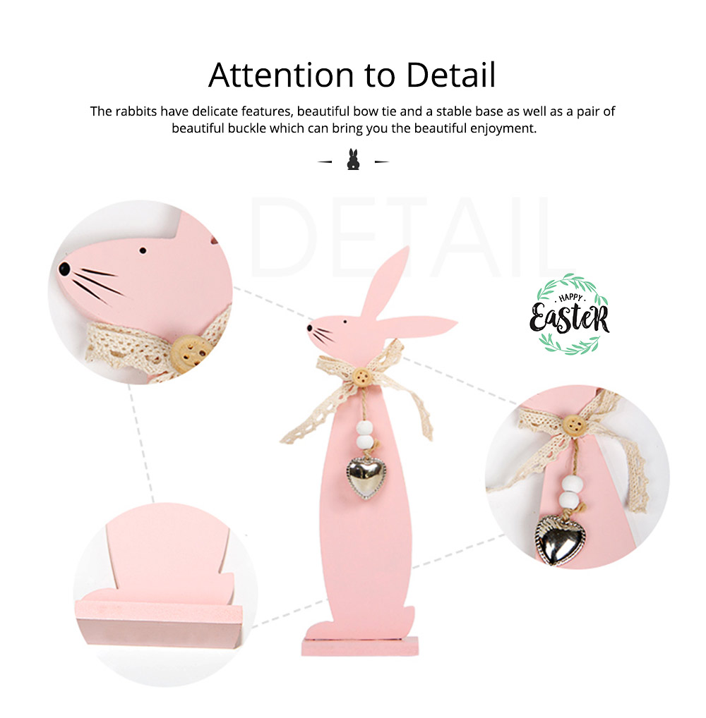 Handmade Wooden Easter Bunny for Coffee Shop & Living Room Decoration 3
