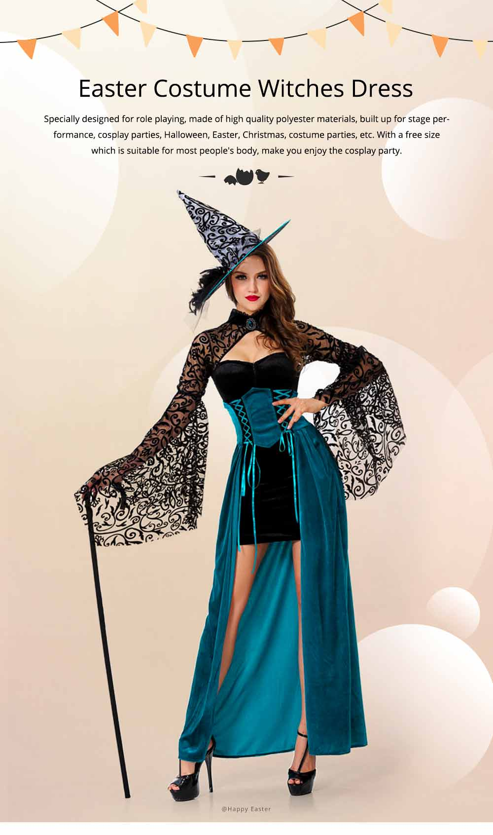 Easter Halloween Costume for Female, Women Sexy Dress Easter Dress Witch Costume Role-playing Game Uniform Dress Suit 0