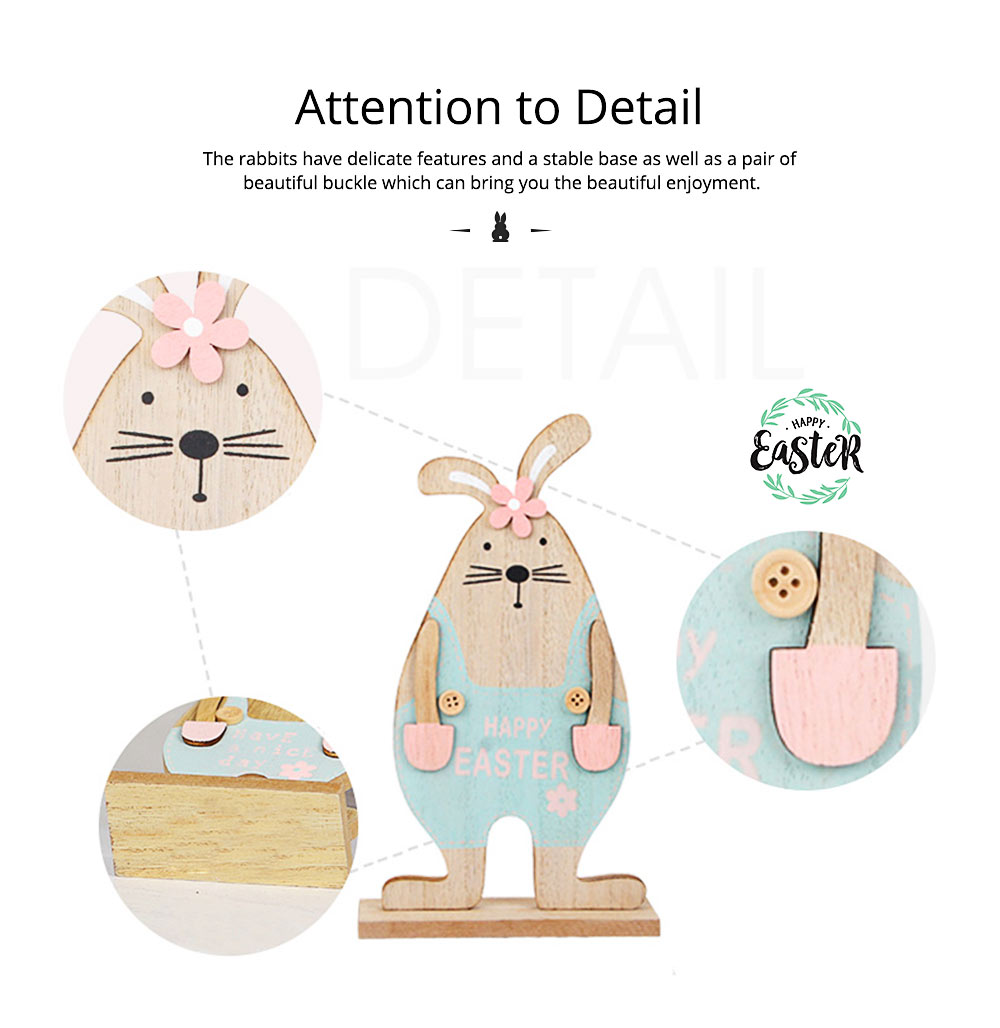Wooden Bunnies for Desk and Living Room Decoration, Log Wooden Rabbit with Texture Buckle and Cool Suspenders 3