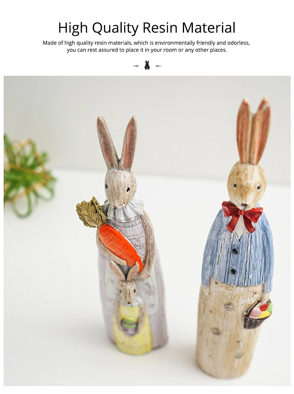 Resin Rabbit Crafts Ornaments Gifts for Easter Birthday, Pastoral Hand-painted Rabbit Decoration 8
