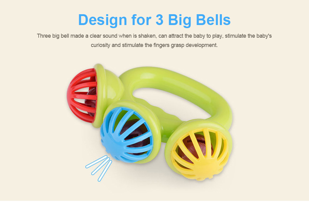 3 Big Bells Baby Early Education Toy, Hand Shake Bell Ring Baby Rattles Toys, Newborn Toddler Rattle Toys 2