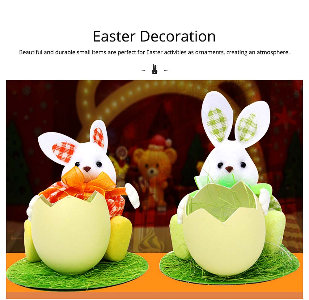 Hand-made Plush Rabbit with Egg Shell Straw, Easter Decorations, Mall and Shop Pendant 4
