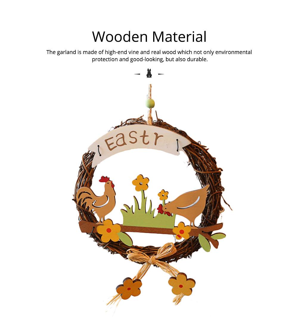 Easter Wreath Wood Bunny Chicks Eggs, Door Hanging Decorations Pendant Props 4