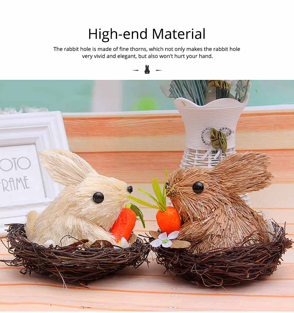 Easter Decorations - Hand-made Straw Bunny with Thorns Nest and Carrots, Mall and Shop Pendant 5
