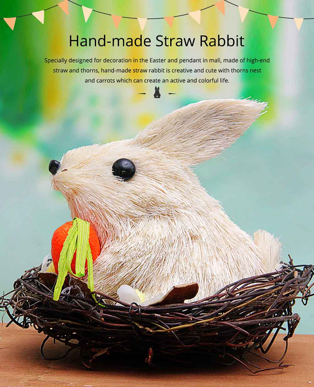 Easter Decorations - Hand-made Straw Bunny with Thorns Nest and Carrots, Mall and Shop Pendant 0