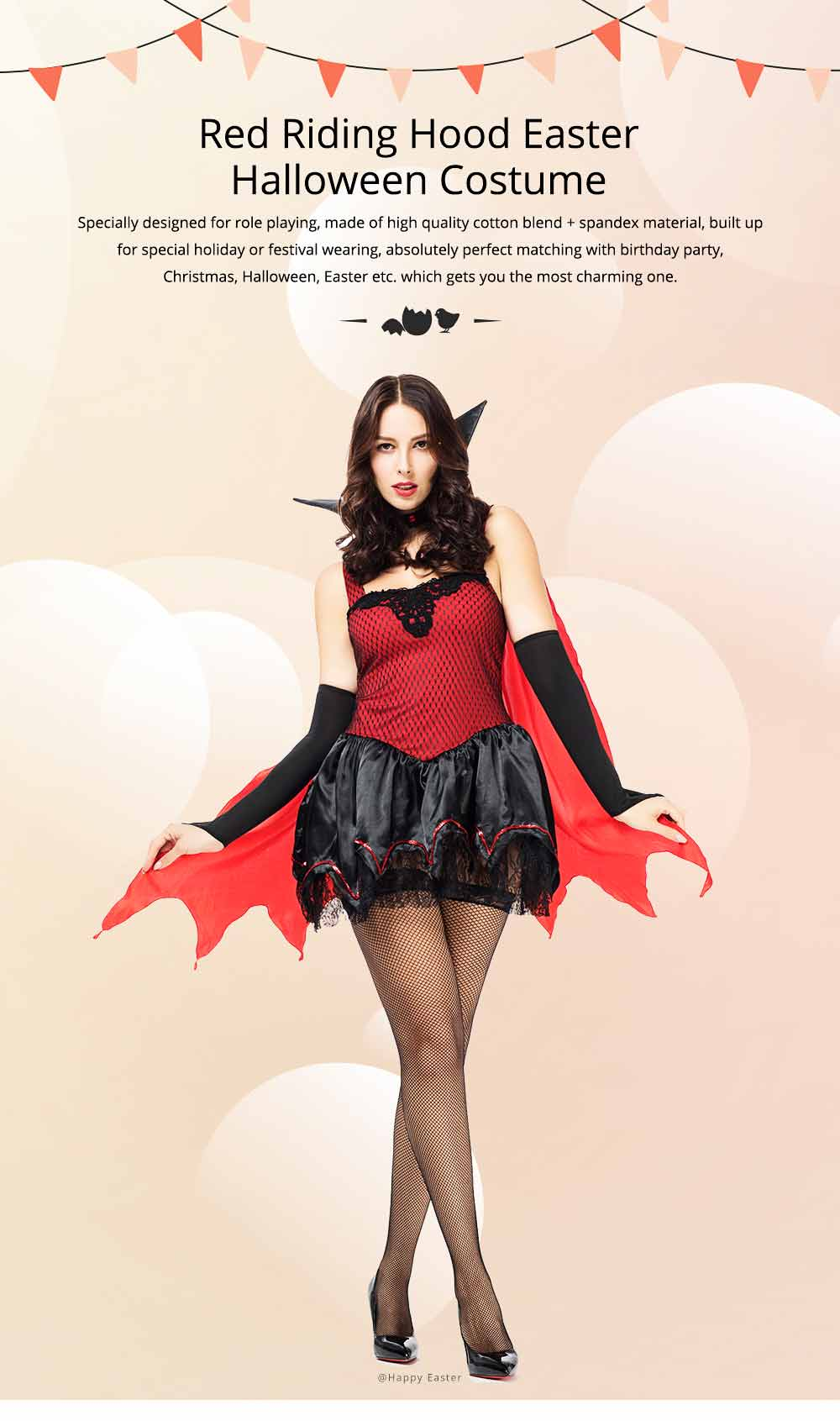 Red Riding Hood Easter Costume, Halloween Costumes for Women Adult Cosplay Dress Role Playing Costume 0