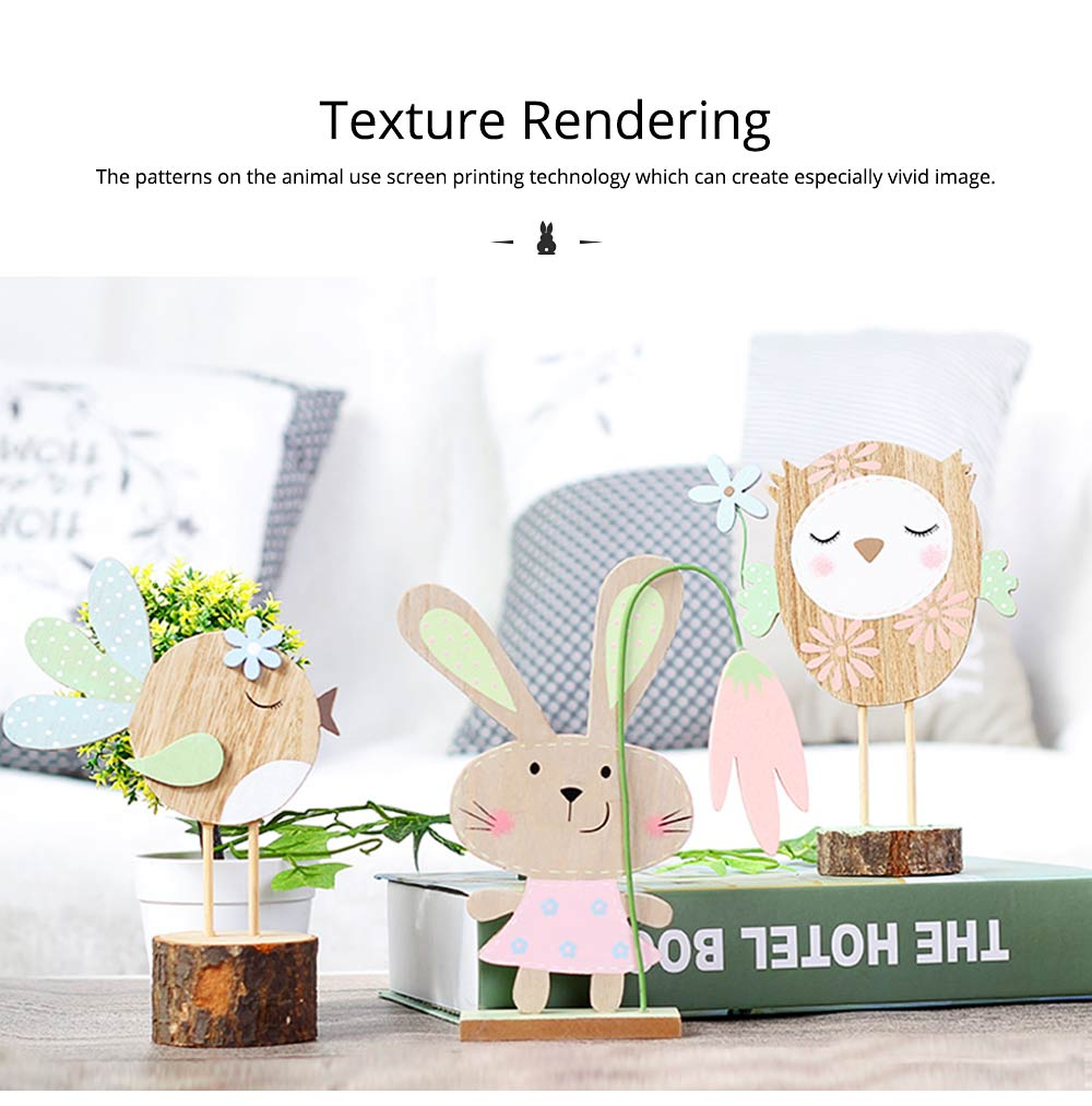 Office and Living Room Easter Decoration - Handmade Wooden Animals with Texture Buckle and Hanging Bead 3