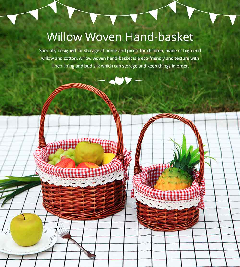 Mini Picnic Basket for Children, Willow Woven Hand-basket with Cotton and Linen Lining and Bud Silk 0