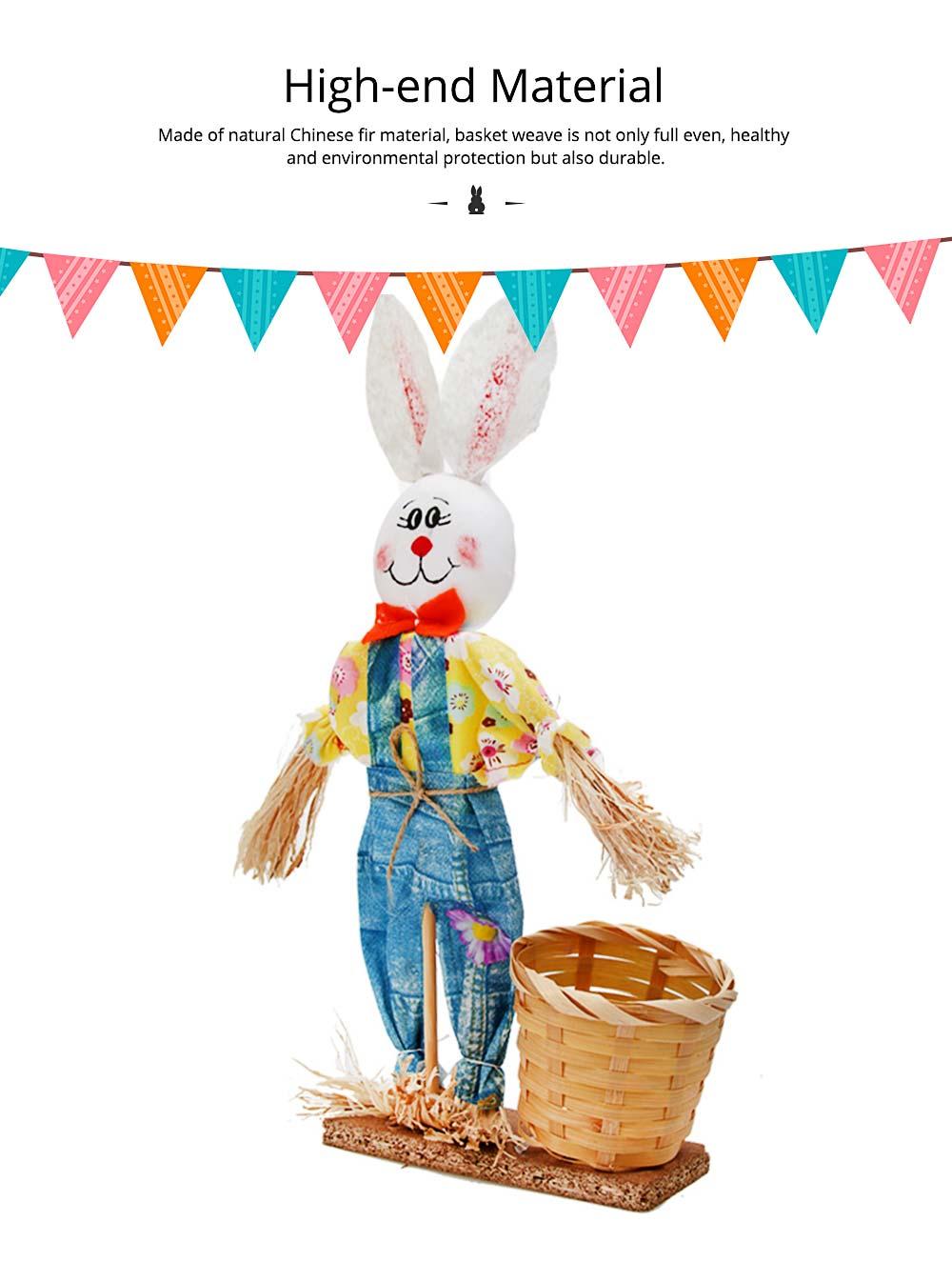 Easter Bunny Decorates as Brush Pot with Cute Rabbit Scarecrow Design, Kindergarten Gift 3