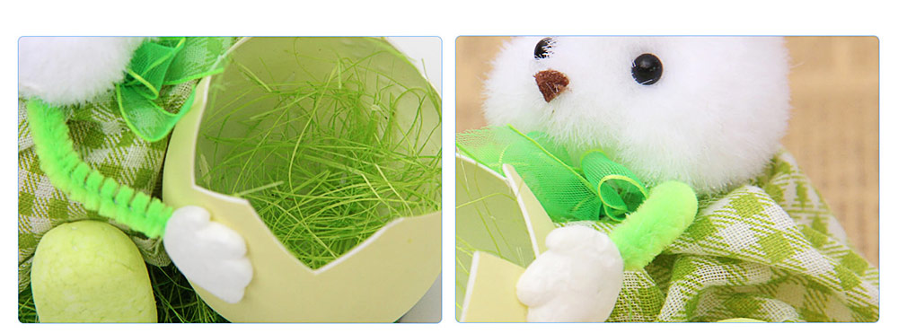 Hand-made Plush Rabbit with Egg Shell Straw, Easter Decorations, Mall and Shop Pendant 3