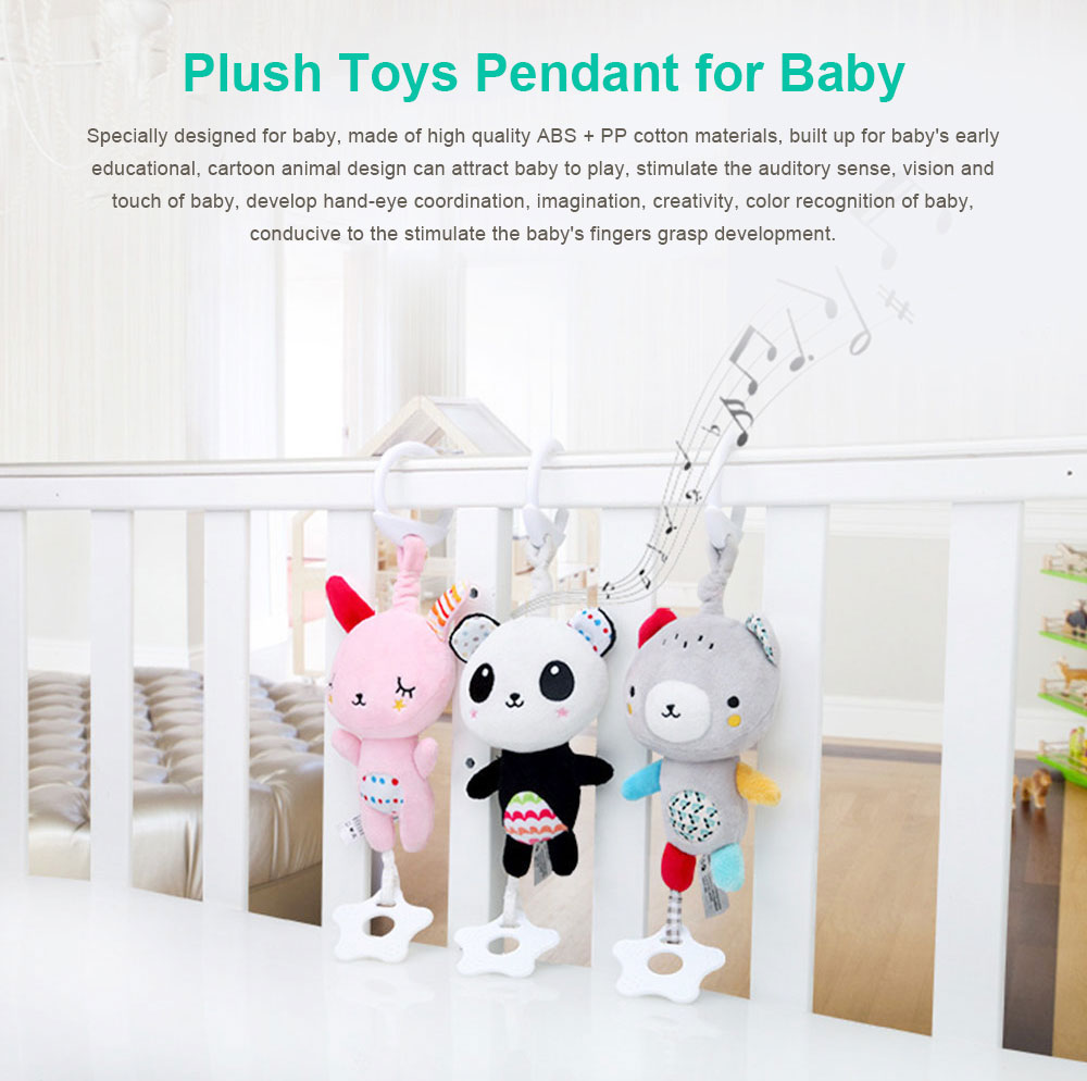 Baby Animals Pendant Plush Musical Toys, Infant Baby Rattle Hanging Toys for Stroller, Child Bed 0