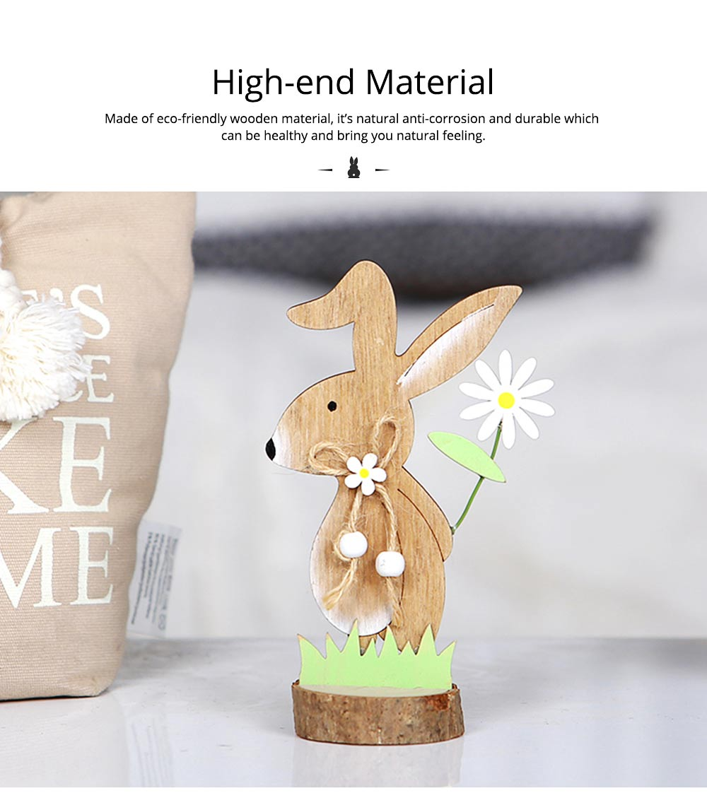 Office and Living Room Easter Decoration - Handmade Wooden Animals with Texture Buckle and Hanging Bead 1