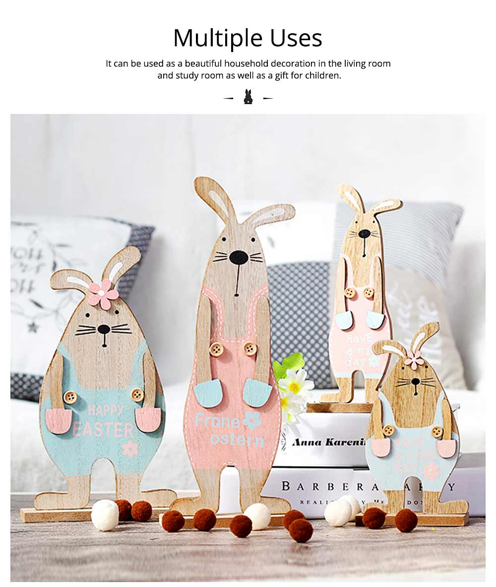 Wooden Bunnies for Desk and Living Room Decoration, Log Wooden Rabbit with Texture Buckle and Cool Suspenders 5
