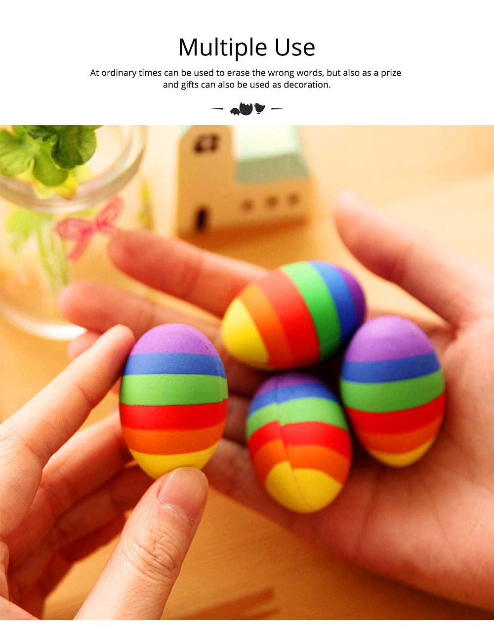 Fun Easter Gifts For Toddlers - Flexible Colored Eraser with Eggs Design, 2PCS 11
