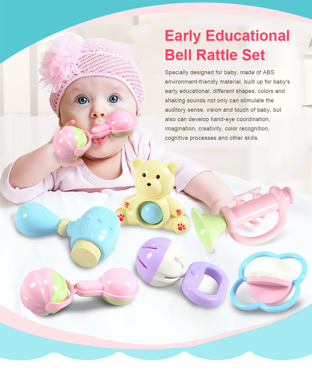 Baby Rattles Teether Toy Spin Rattle, Early Educational Toys Bell Rattle Set for 0-24 Months Baby Infant, 6 PCS 0