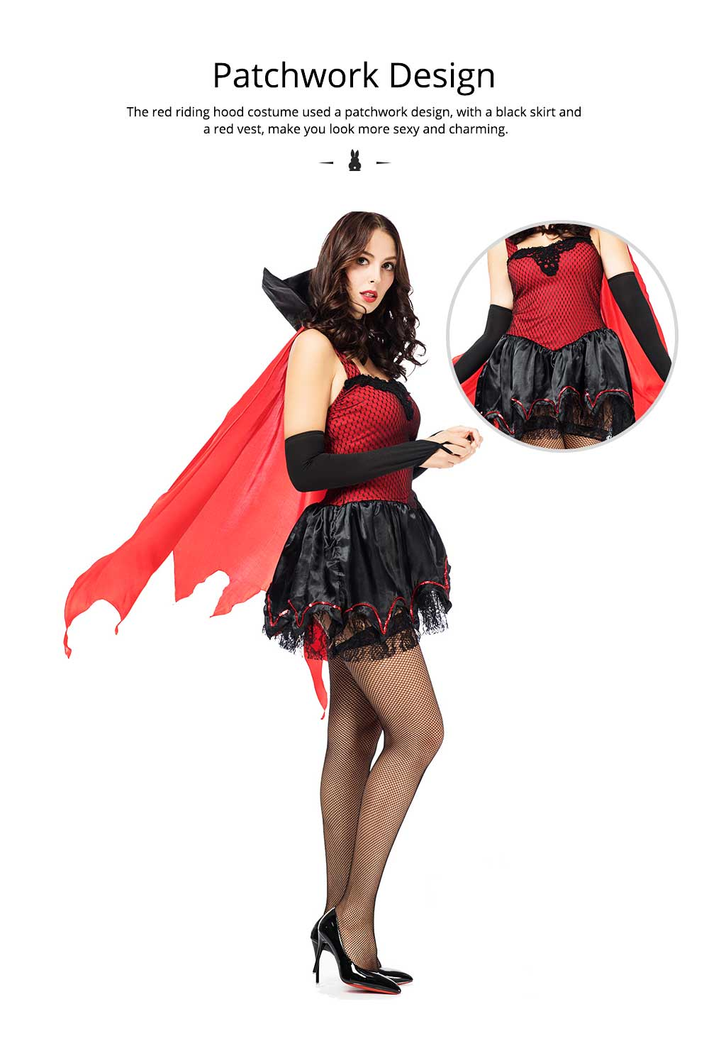 Red Riding Hood Easter Costume, Halloween Costumes for Women Adult Cosplay Dress Role Playing Costume 3
