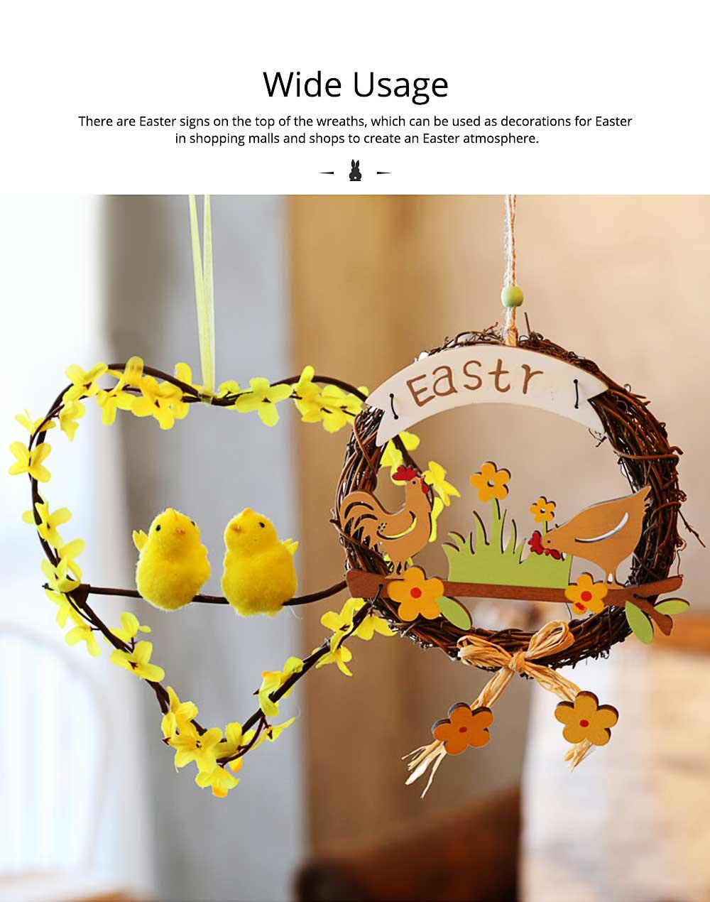 Easter Wreath Wood Bunny Chicks Eggs, Door Hanging Decorations Pendant Props 1