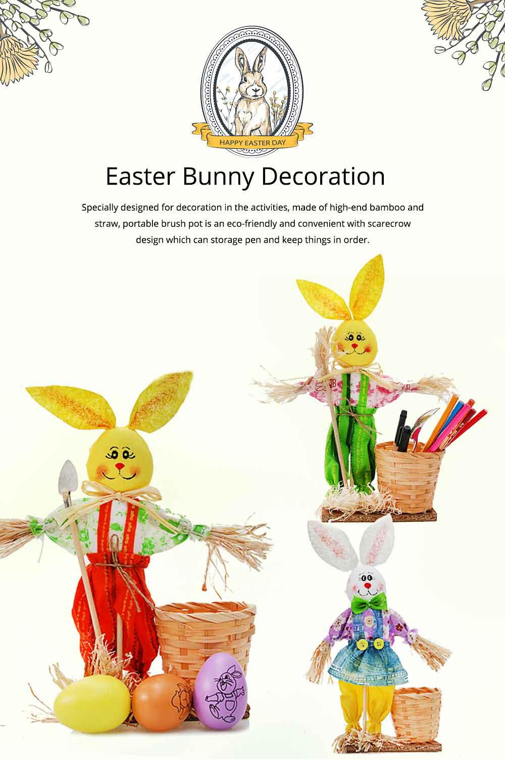 Easter Bunny Decorates as Brush Pot with Cute Rabbit Scarecrow Design, Kindergarten Gift 0