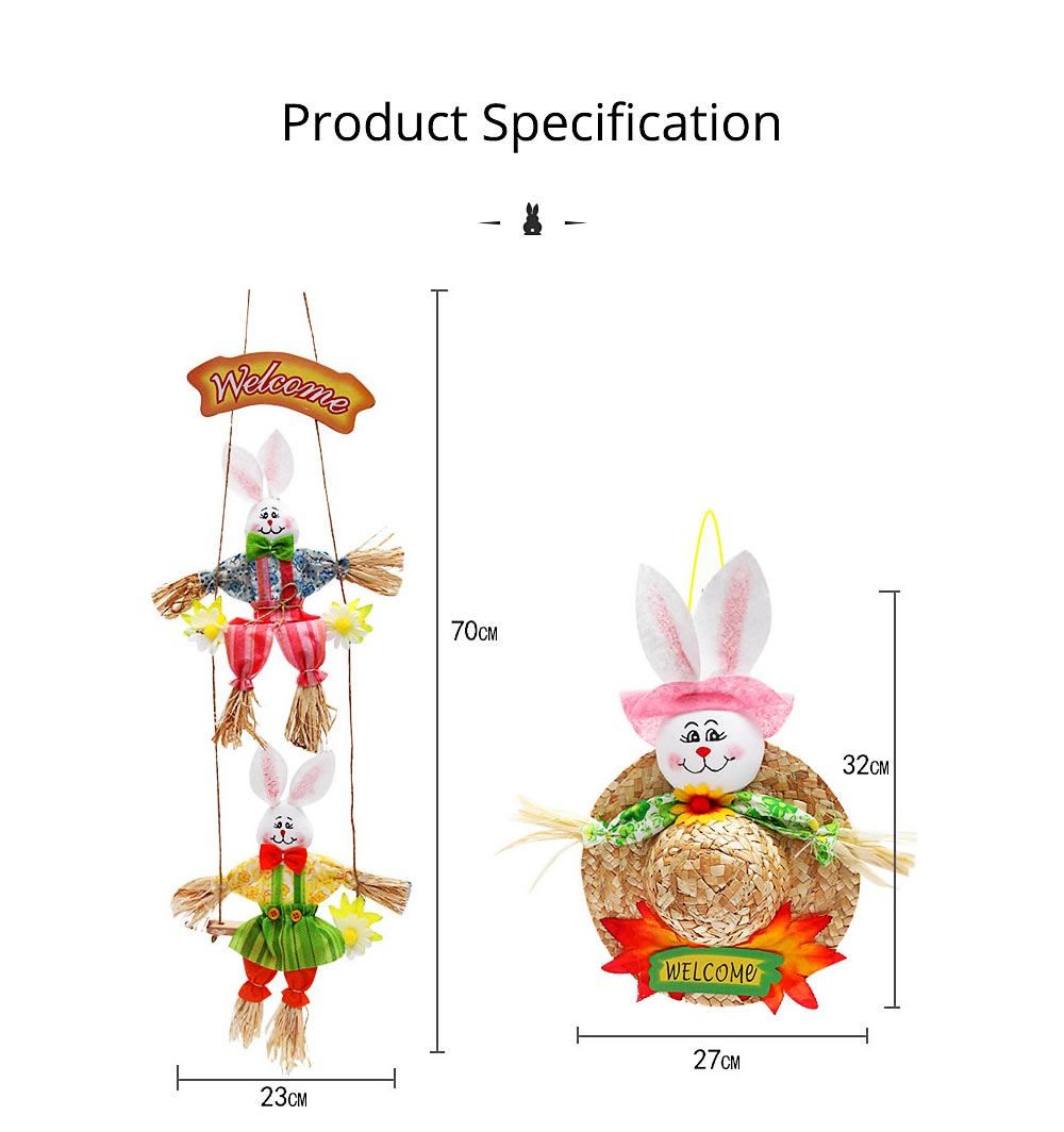 Bunny Hat Pendant for Easter Decoration, Straw Woven Rattan Weaving Hat with Cartoon Design, DIY Handmade Hat 7