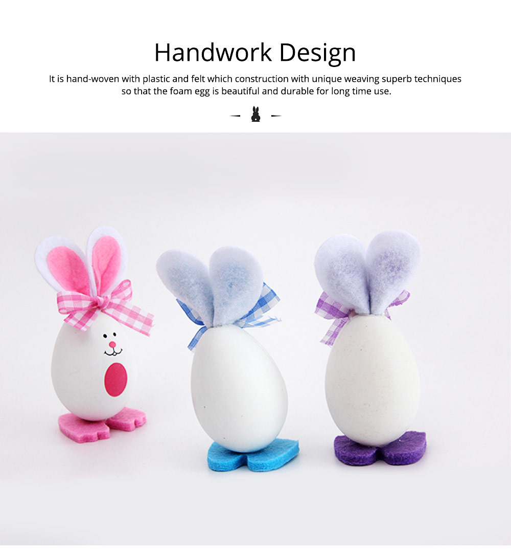Plastic Easter Bunny Eggs with Delicate Bow and Lovely Face, Pendant and Gift for Children 4
