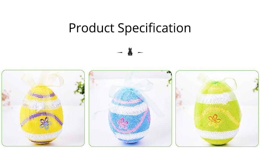 Large Foam Easter Egg Decoration 9cm, Large Size Pendant with Hanging Ribbon Easter Ornaments 8