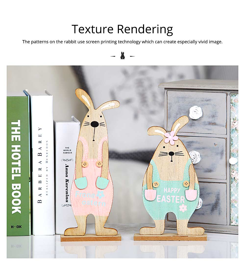 Wooden Bunnies for Desk and Living Room Decoration, Log Wooden Rabbit with Texture Buckle and Cool Suspenders 2
