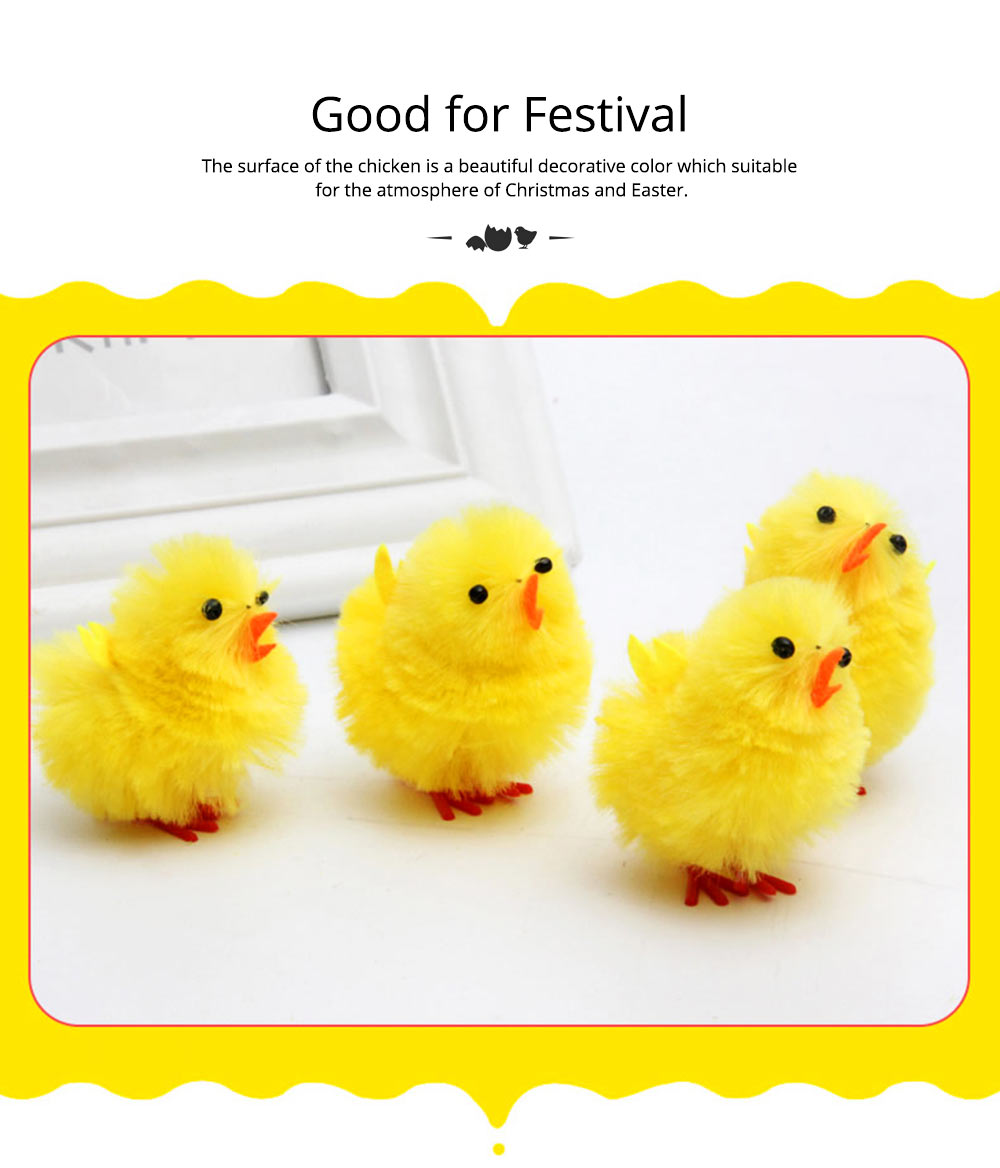 Fluffy Little Yellow Chicken with Lovely Eyes and Standing Posture, Easter Decorations, Children's Easter Gift 4