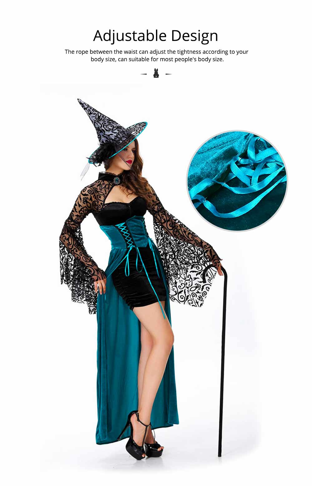 Easter Halloween Costume for Female, Women Sexy Dress Easter Dress Witch Costume Role-playing Game Uniform Dress Suit 3