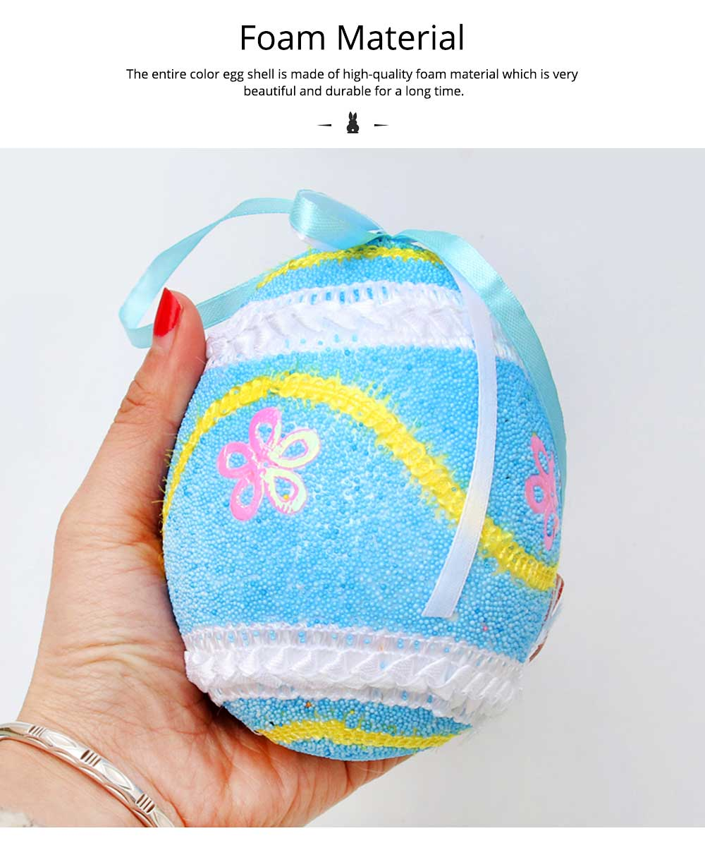 Large Foam Easter Egg Decoration 9cm, Large Size Pendant with Hanging Ribbon Easter Ornaments 4