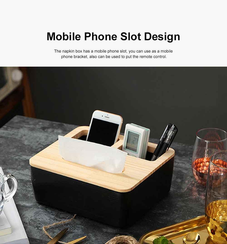 Tissue Box Wooden Cover Mobile Phone Holder, Makeup Cotton Box, On-board Black Tissue Box for Living Room, Desktop Napkin Box 3