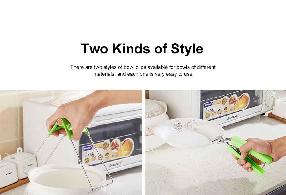 Creative Stainless Steel Bowl Clip, Anti-scald Kitchen Restaurant Hot Dish Picking Up ABS Clip, 2PCS 5