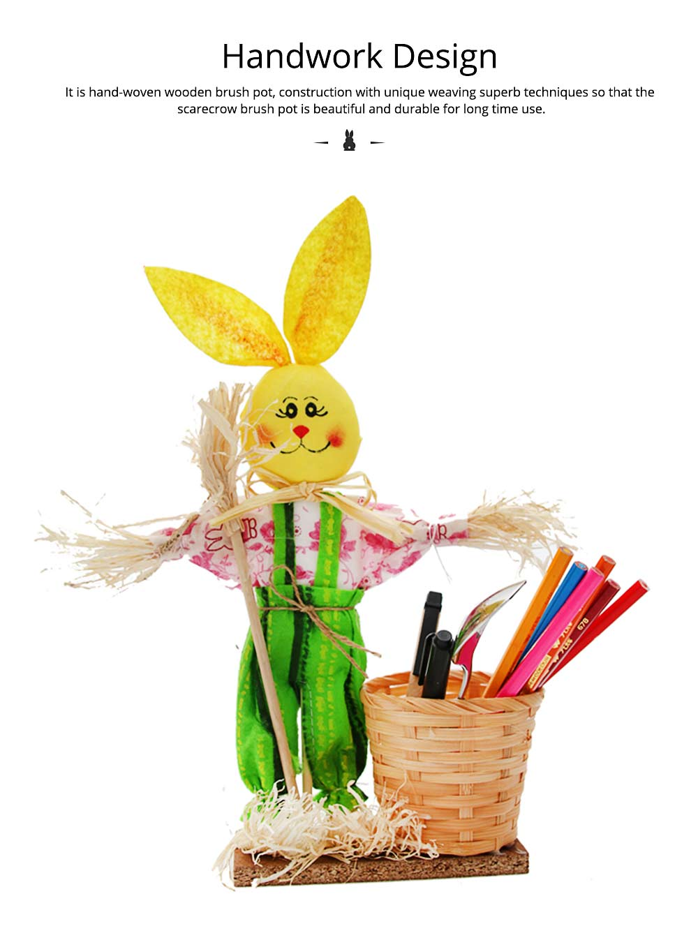 Easter Bunny Decorates as Brush Pot with Cute Rabbit Scarecrow Design, Kindergarten Gift 4