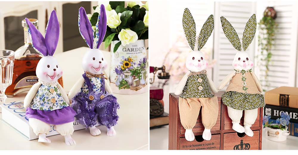 Resin Rabbit Doll Ornaments, Easter Bunny Ornaments Creative Gift for Birthday Wedding Household Decoration 4