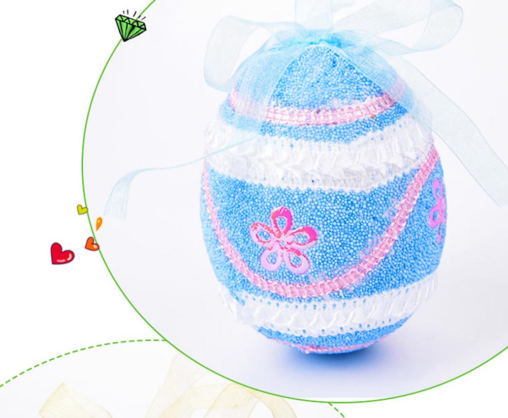 Large Foam Easter Egg Decoration 9cm, Large Size Pendant with Hanging Ribbon Easter Ornaments 6