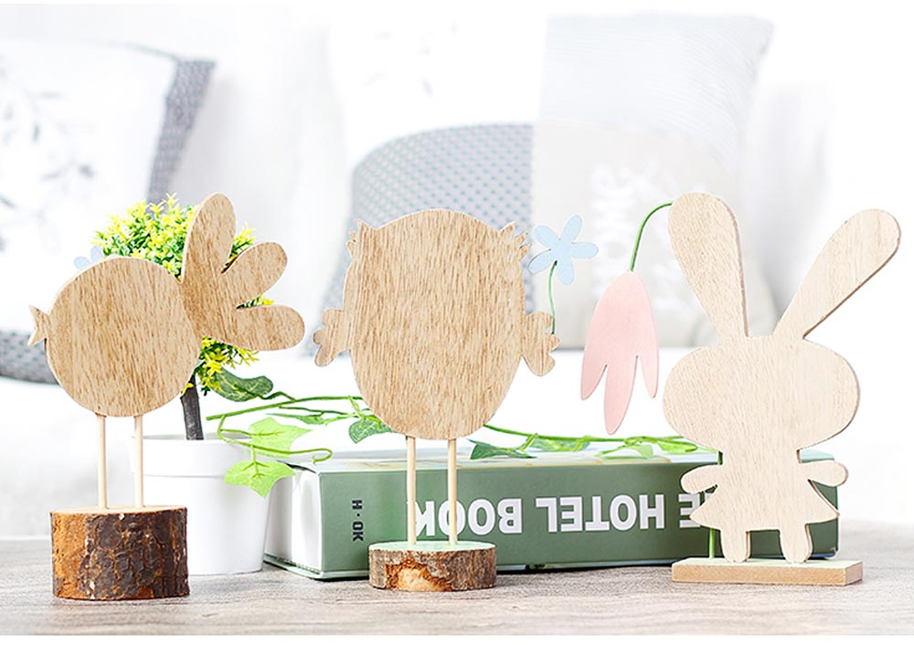 Office and Living Room Easter Decoration - Handmade Wooden Animals with Texture Buckle and Hanging Bead 7