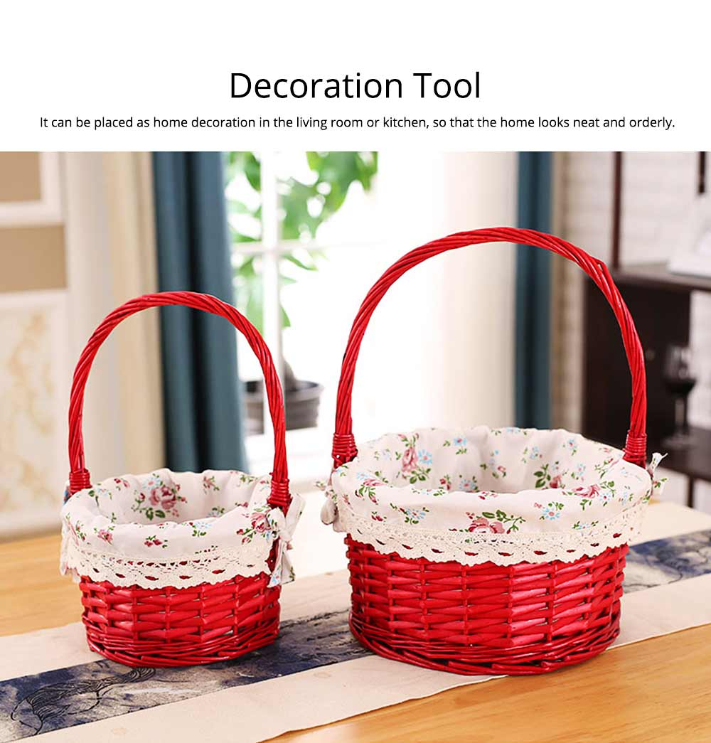 Mini Picnic Basket for Children, Willow Woven Hand-basket with Cotton and Linen Lining and Bud Silk 6