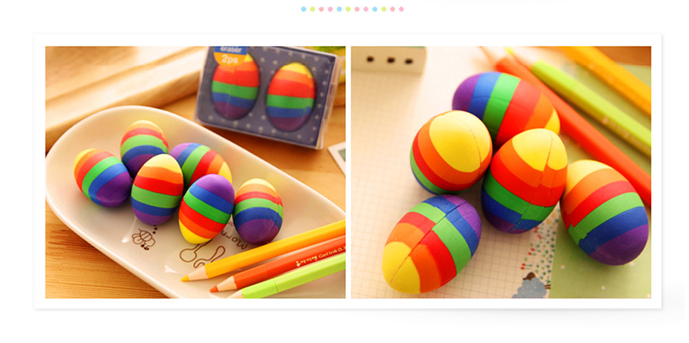 Fun Easter Gifts For Toddlers - Flexible Colored Eraser with Eggs Design, 2PCS 13